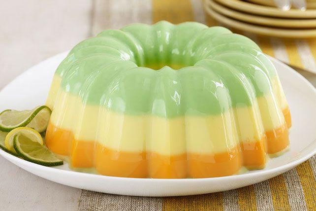 Creamy Triple Citrus Gelatin Dessert Recipe Gelatin Dessert Kraft Recipes Jello Mold Recipes