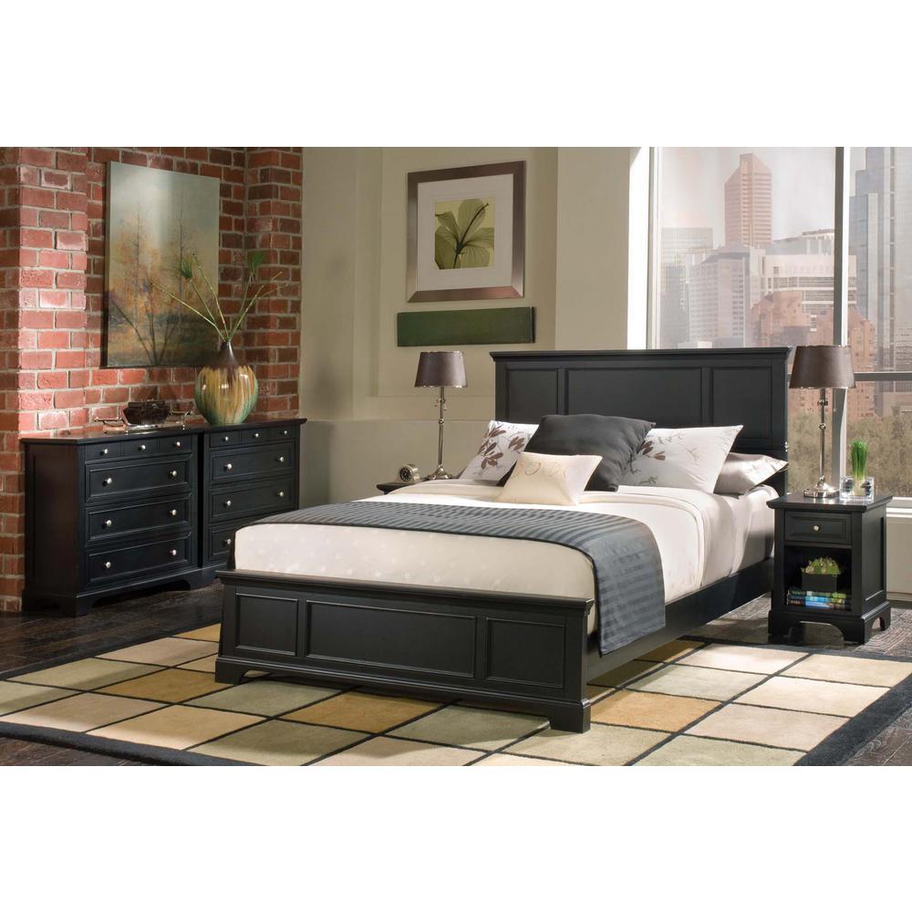 Homestyles Bedford 1 Drawer Black Nightstand 5531 42 Bed Frame