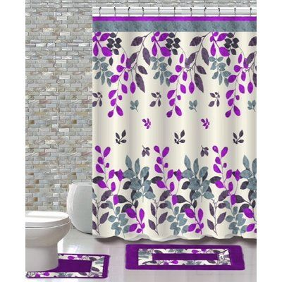 Ebern Designs Artique 15 Piece Shower Curtain Set Colour Forest