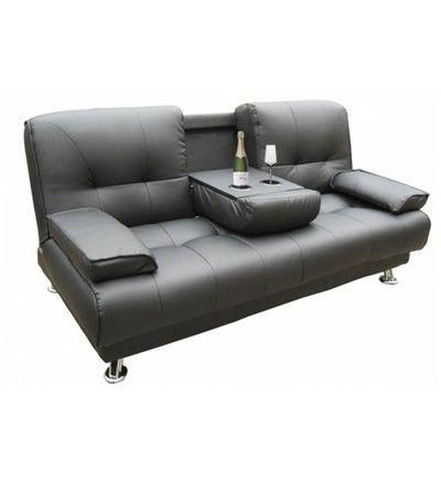 Canapé convertible 3 places noir turando declikdeco en noir galeries lafayette