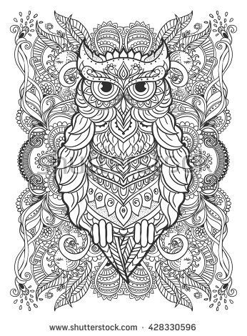 owl for design print clothing stickers tattoos Adult Coloring ...