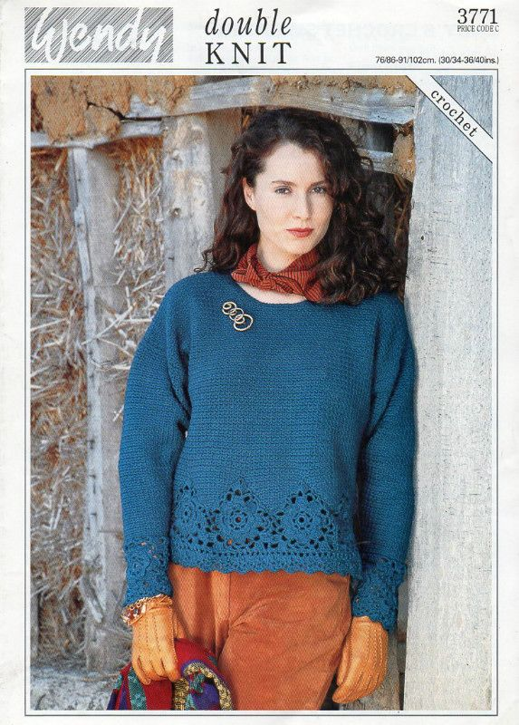 Wendy Double Knit Ladys Sweater Crochet Pattern 3771 Listing In The
