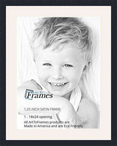 ArtToFrames 18 x 24 Inch Opening Single Mat with a Satin Black 125 ...