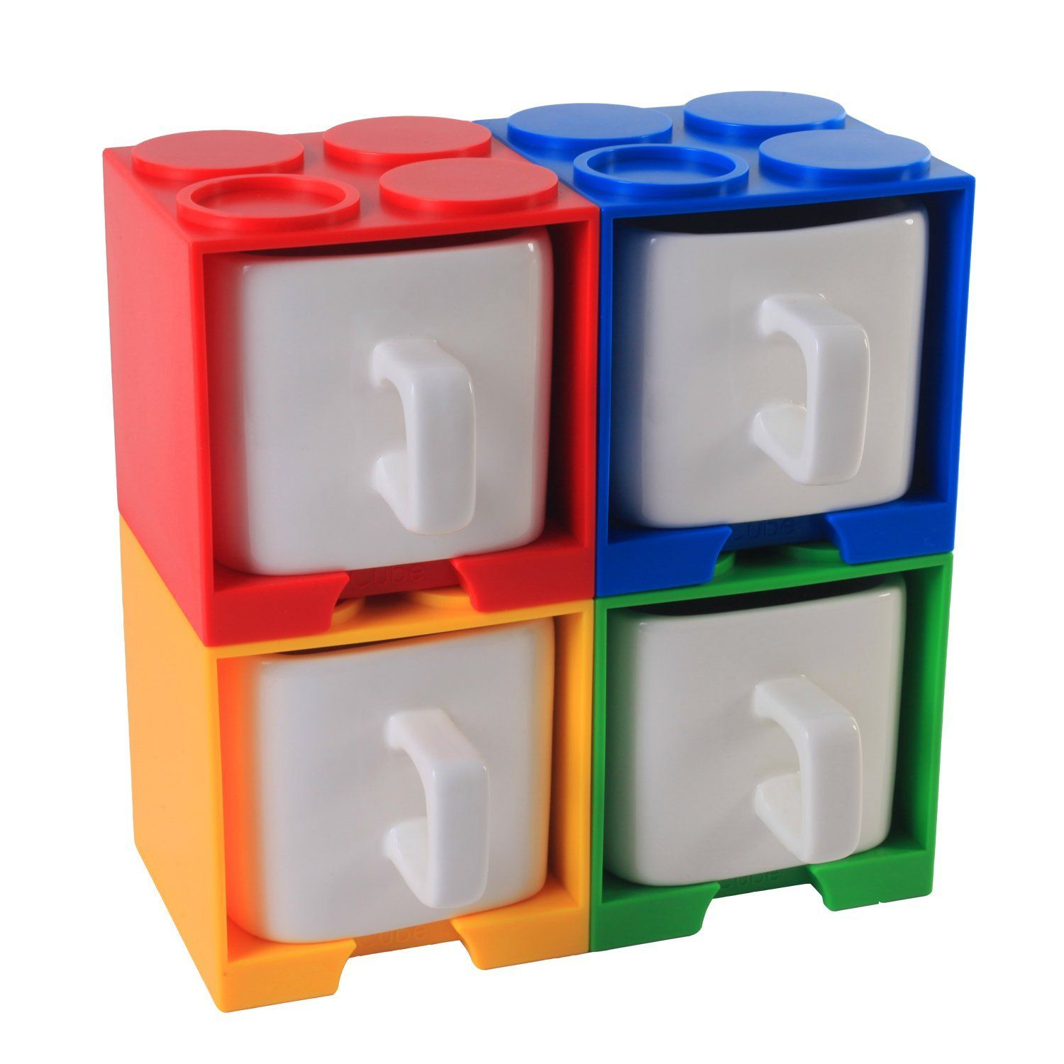 Cube Coffee Mug With Lego Shaped Stackable Storage Container Invention Vovogifts Gadget Coffeemug New Amazing