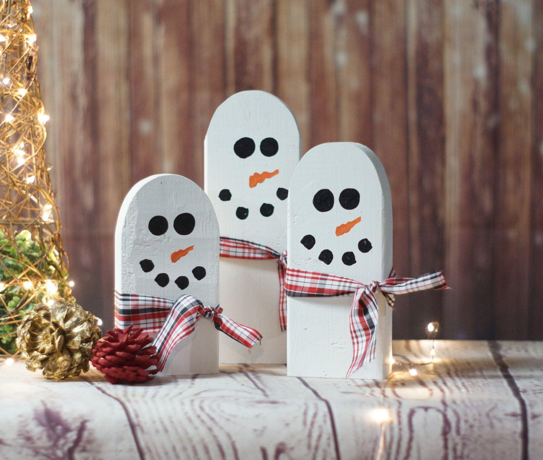 Primitive christmas decor pinterest - Wooden Snowman Hand Painted Snowman Reclaimed Wood Gift Rustic Christmas Decoration Primitive