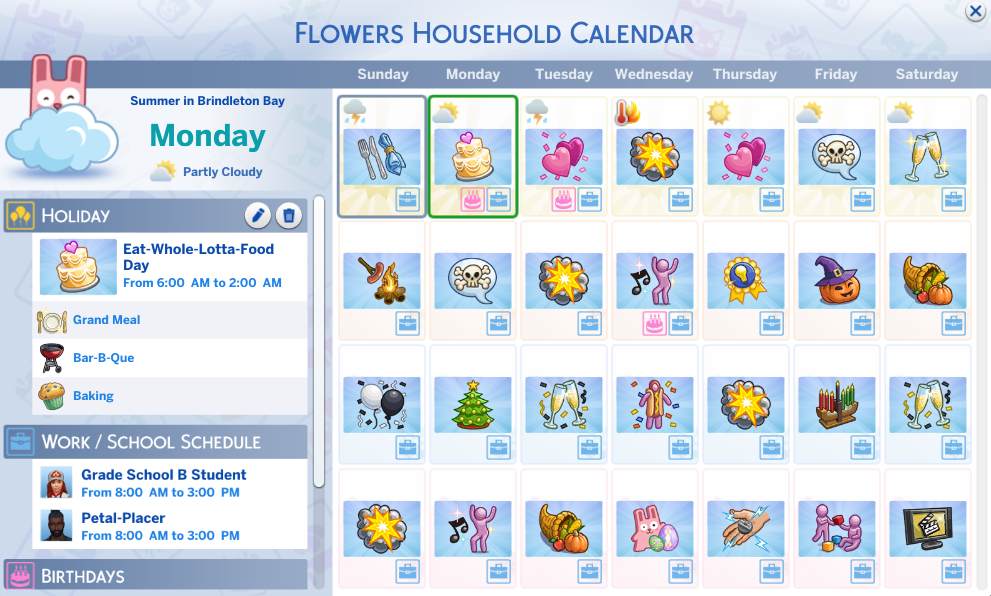 I Filled The Entire Calendar With Holidays In The Sims 4 Seasons In 2020 Sims 4 Seasons Sims 4 Sims
