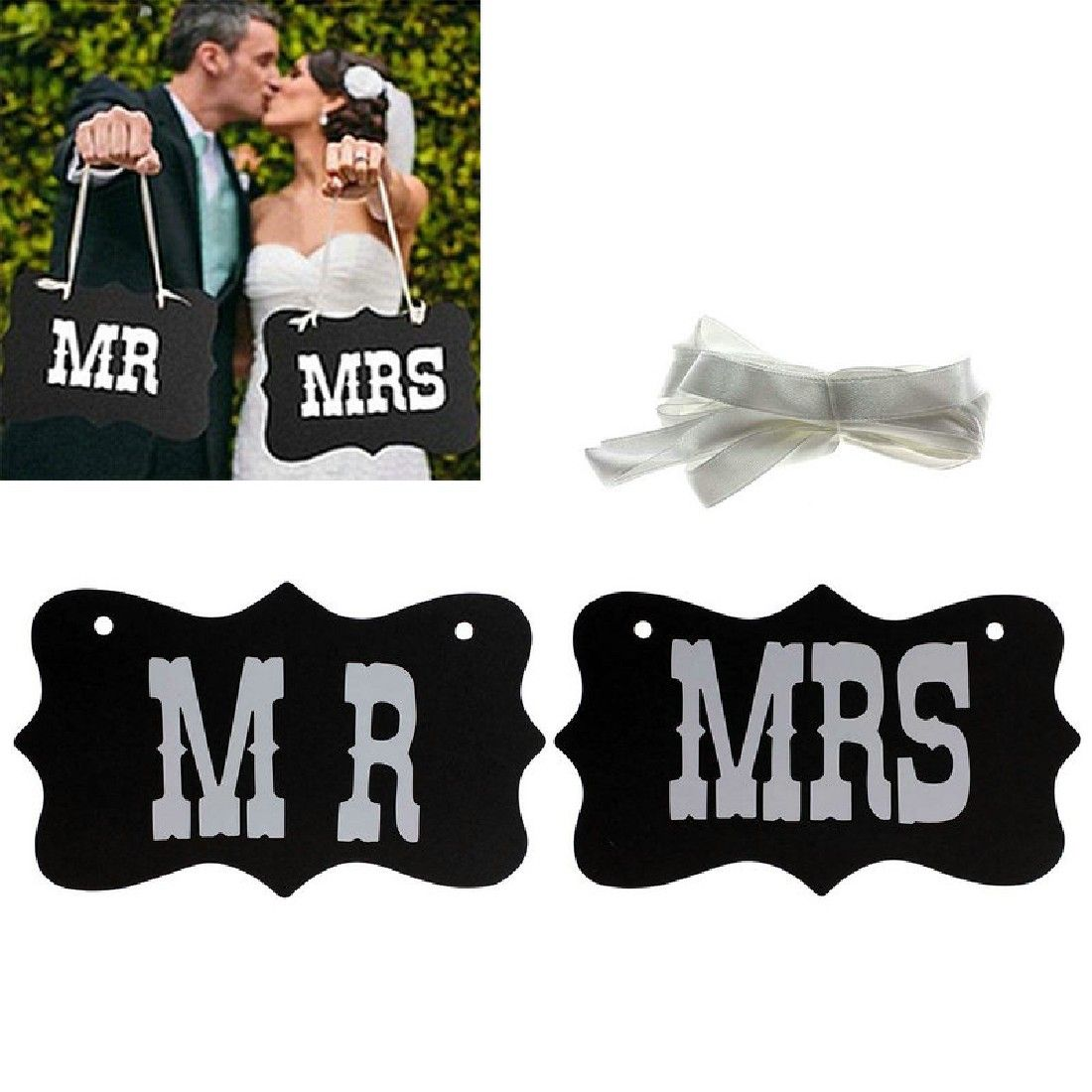 Hot sale 1Set Mr And Mrs Letters Garland Banner Photo