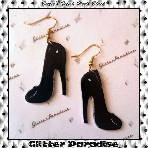 New to GlitterParadise on Etsy: Bettie's Fetish Heels Black (12.00 EUR)