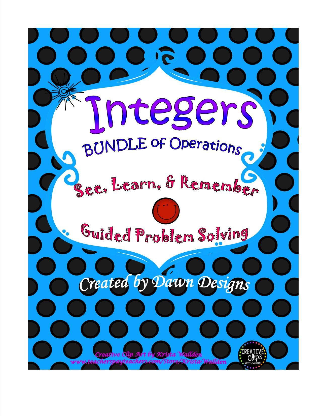 Integer Worksheet Bundle Of Operations With Images