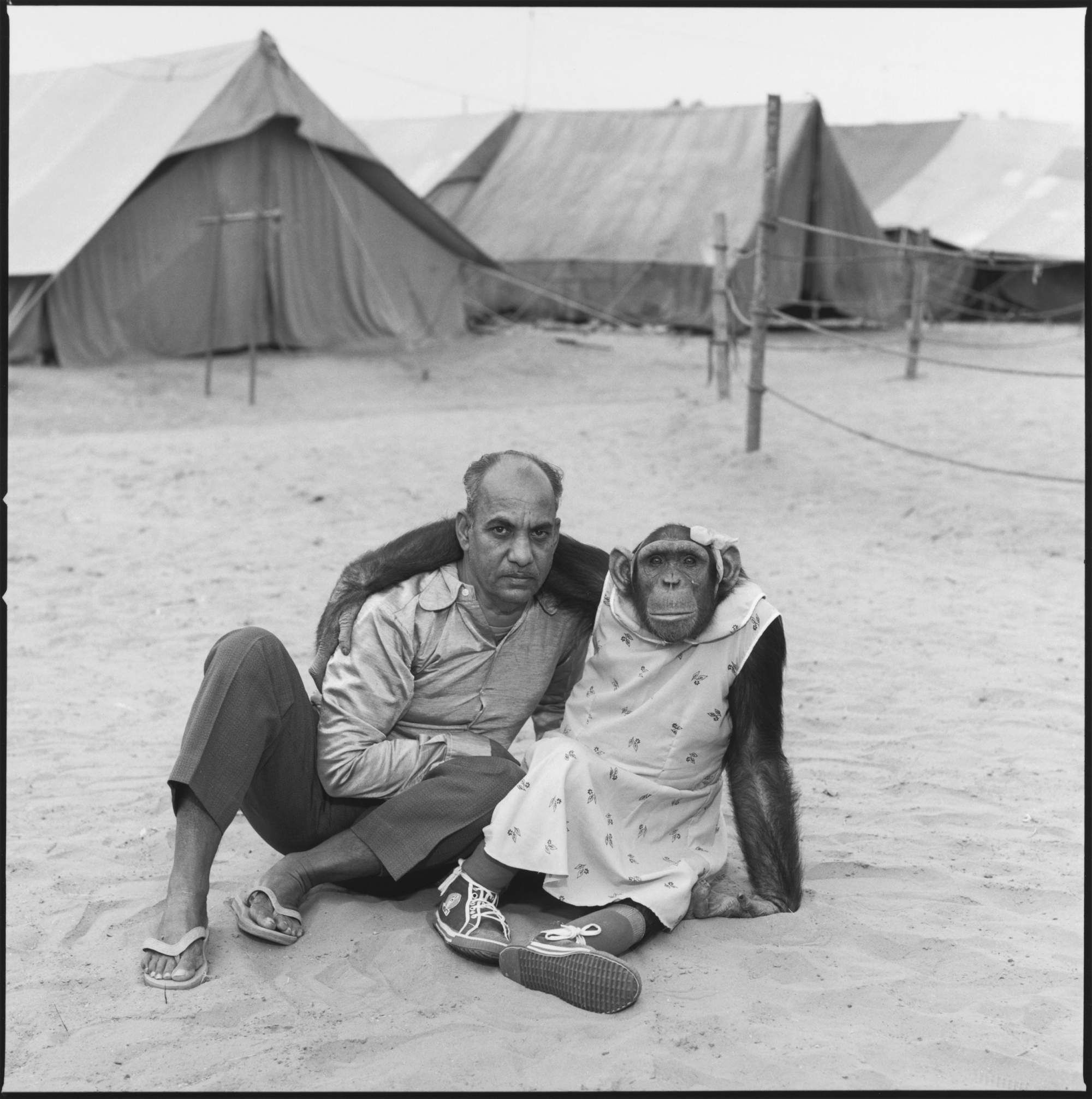 Arjun with his chimpanzee Mira, Great Royal Circus. Gujarat, India, 1989. Mary Ellen Mark