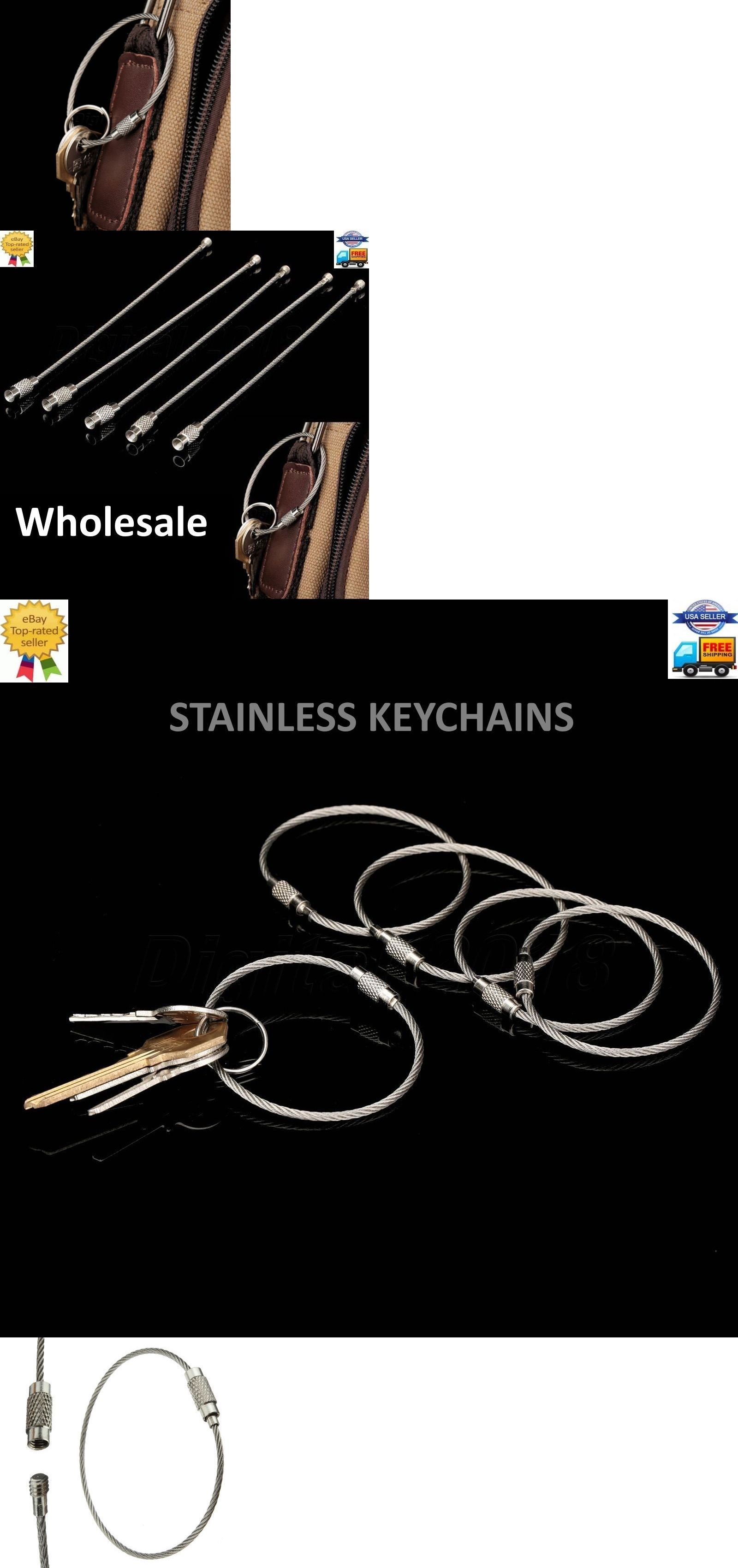 Key Chains 169280 Stainless Steel Wire Keychain Ring Braided Diagram Cable Screw Car Loop Outdoor