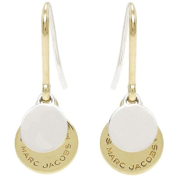 Marc Jacobs Mixed Metal Logo Disc Earrings ($55) ❤ liked on Polyvore featuring jewelry, earrings, brass earrings, marc jacobs, disc charms, disc earrings and hook earrings