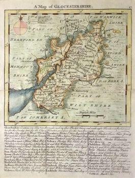 Antique Maps UK England Gloucestershire Map By Kitchin - Vintage maps uk