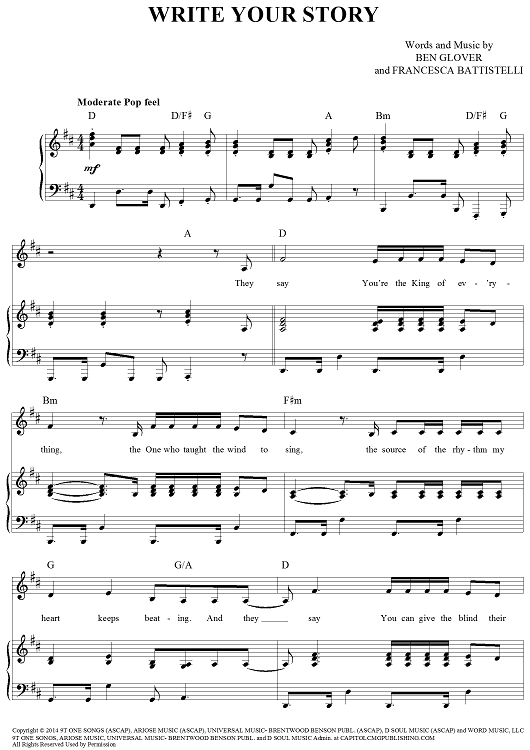 how to play write your story chords