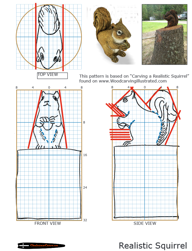 Chainsaw carving patterns free squirrel art montana
