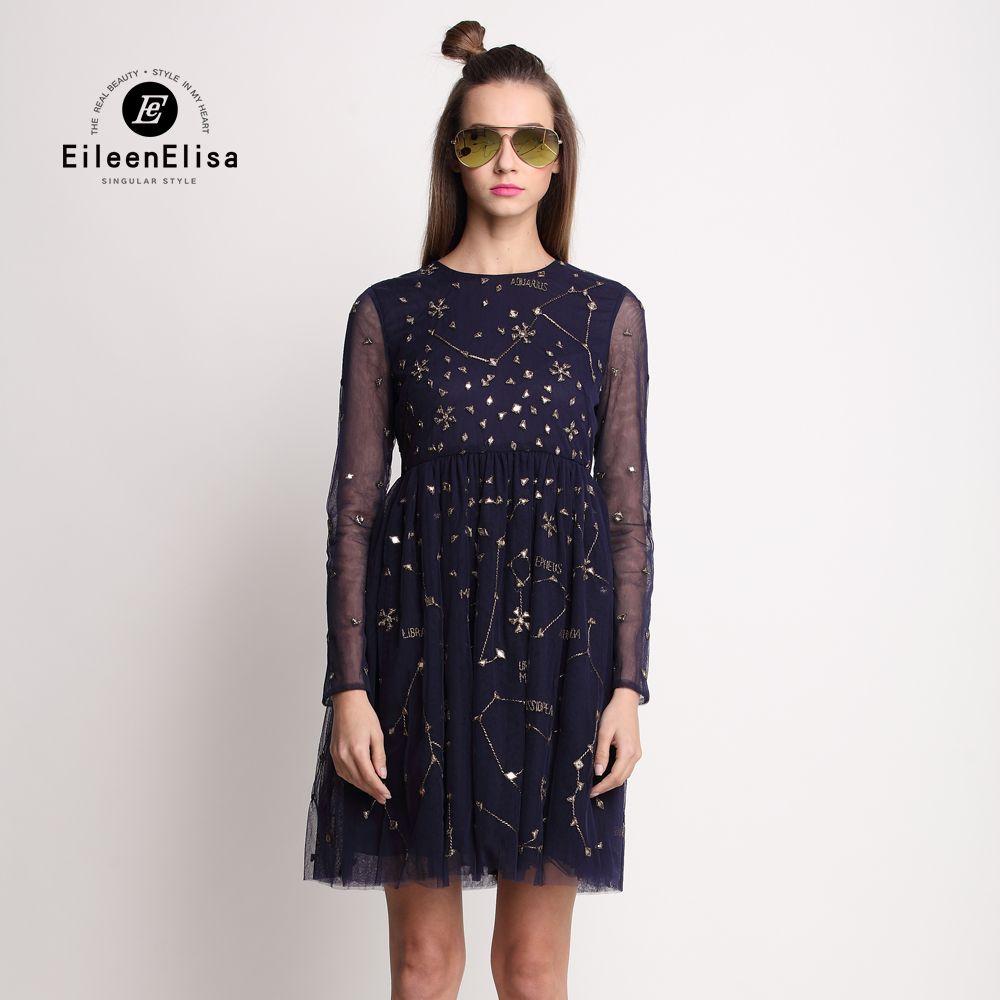 Ee black lace dress long sleeve summer runway dresses women