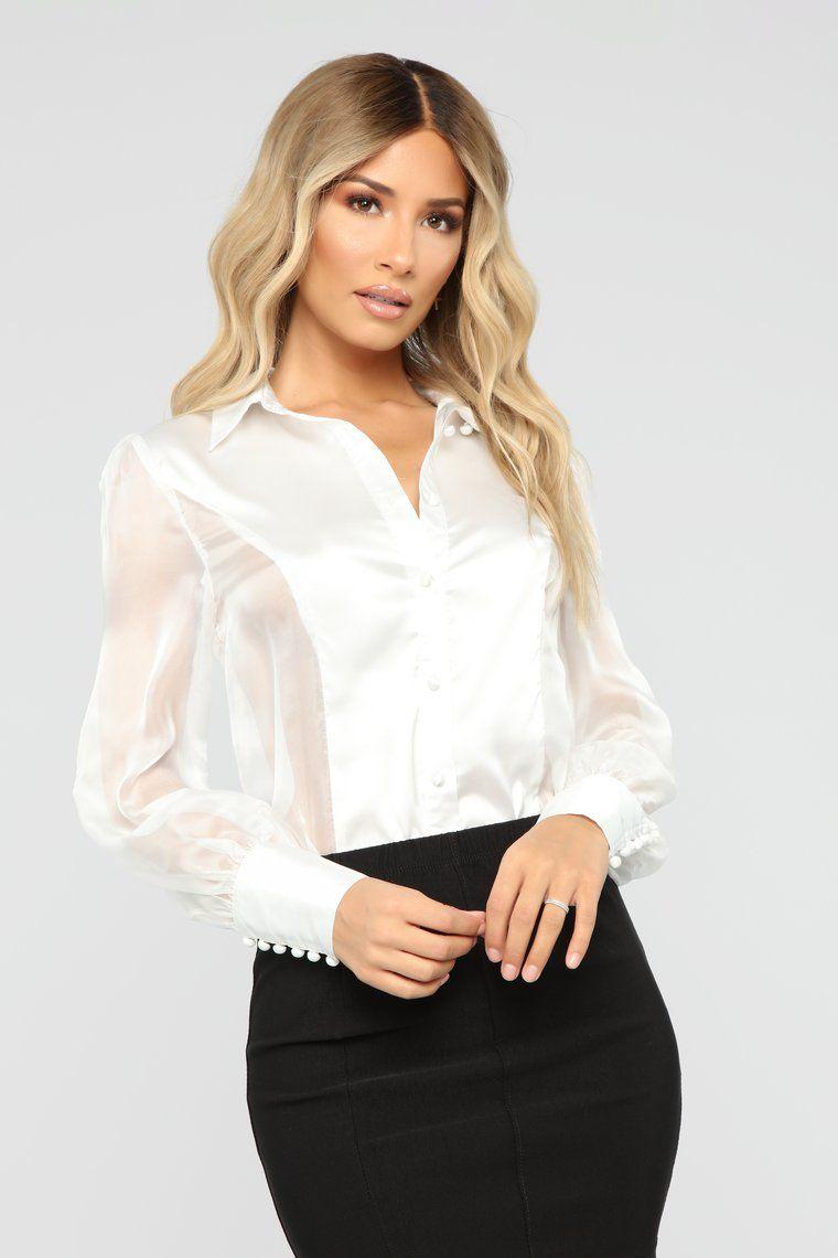 Sheer Confidence Blouse White Long blouse, Long sleeve