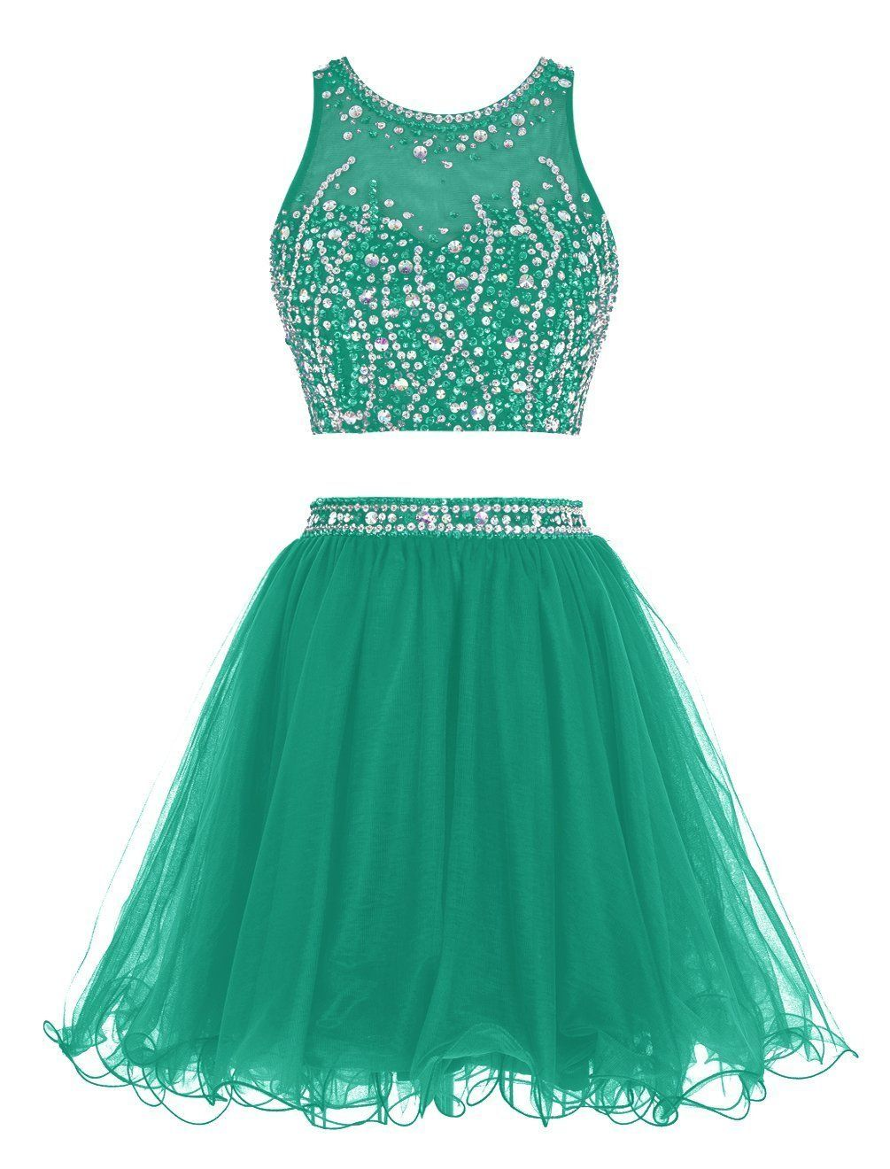Uryouthstyle green two pieces prom dresses beaded short graduation