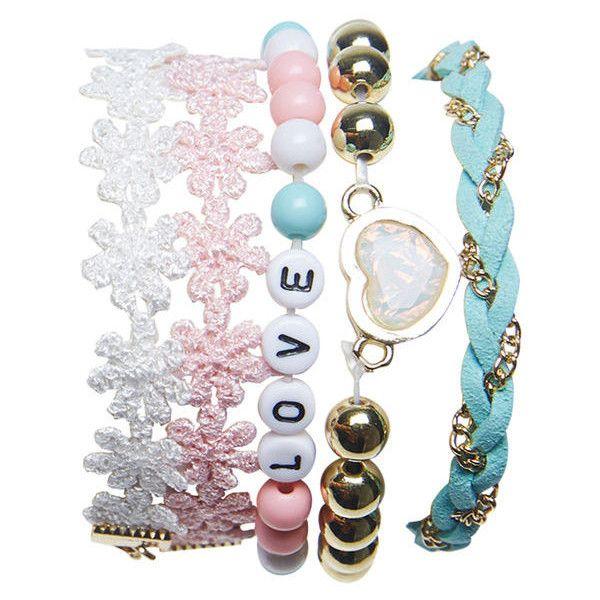 Girly Pastels Friendship Bracelet Set (€8,30) ❤ liked on Polyvore featuring jewelry, bracelets, accessories, macrame beaded bracelet, round friendship bracelet, heart pendant, woven bracelet and crochet friendship bracelet