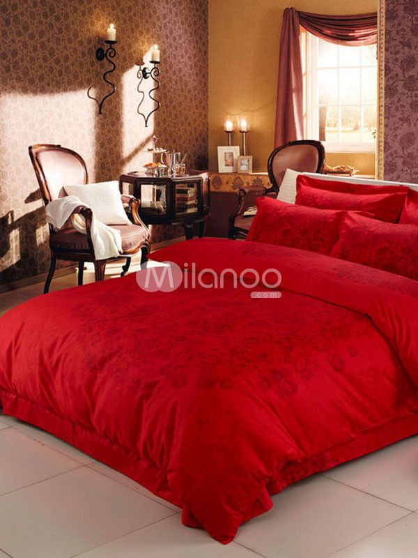 Stunning Red Oriental Style Ink Art Bedding Set - Milanoo.com