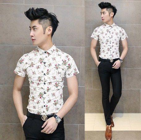 Exclusive 2014 Summer Short-sleeve Elegant Flower Shirt Slim Man Cool Shirts Wholesale FreeShipping $23.88