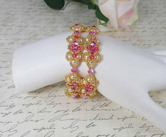 Woven Pearl Bracelet in Swarovski ABx2 by IndulgedGirl on Etsy