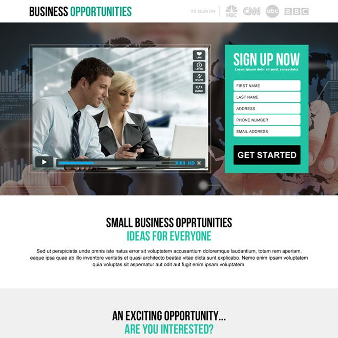 small business idea lead generation video landing page design ...