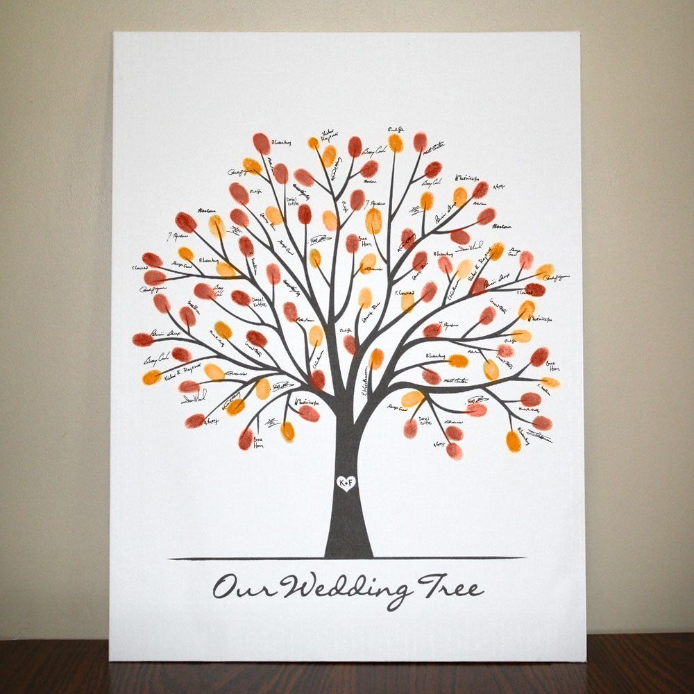 Fall Canvas Wedding Tree (18x24) | Thumbprint guest books, Wedding ...
