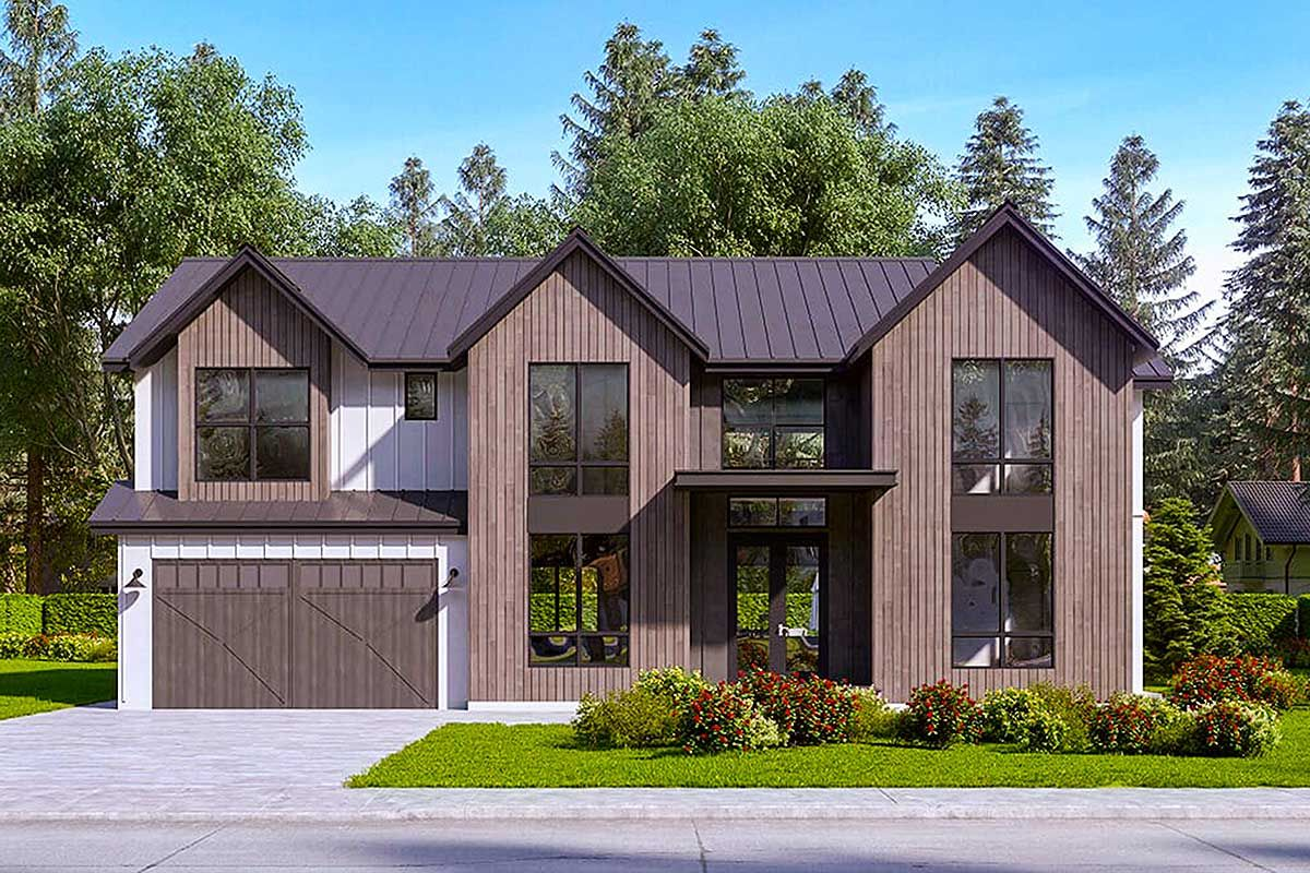 Exclusive modern bed house plan with story foyer and family room raf architectural designs plans also rh pinterest