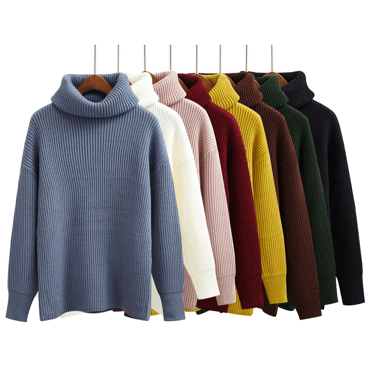f844647fe Simple Basic Sweater Women Winter Pullover Solid Knitted Sweater Top for Women  Autumn Female Turtleneck Oversized Sweaters-in Pullovers from Women s ...