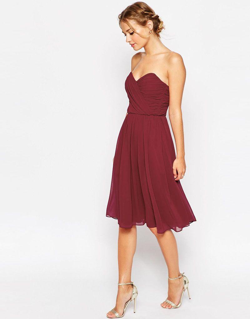Wine Knee Length Bridesmaid Dress