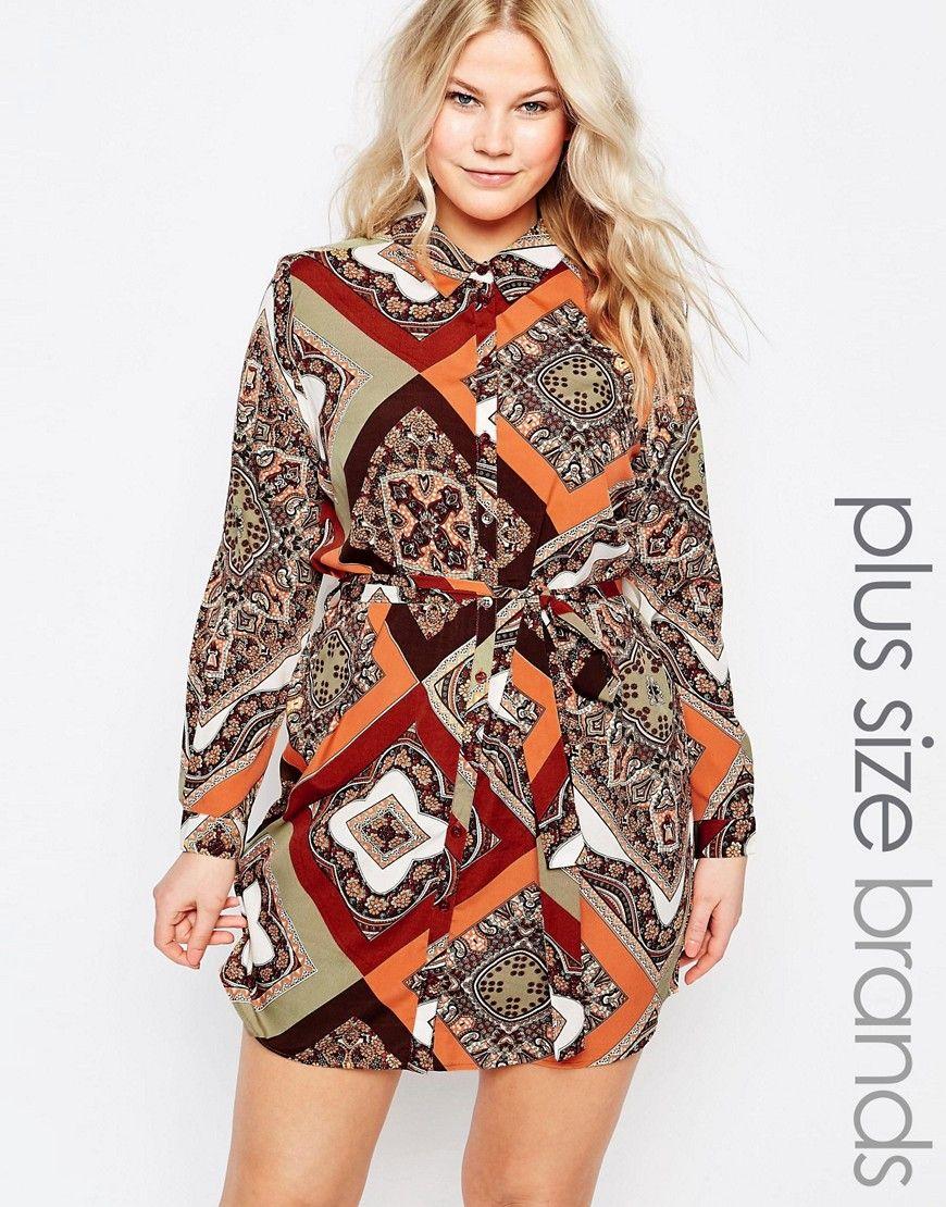Image 1 of AX Paris Plus Shirt Dress In Scarf Print | Fashion ...