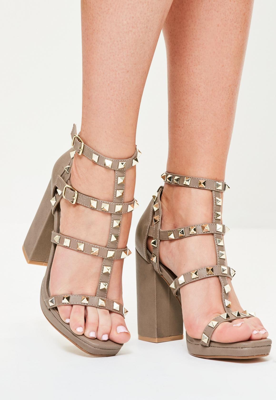 9bcc6055061 Missguided - Grey Gladiator Studded Block Heel Sandals