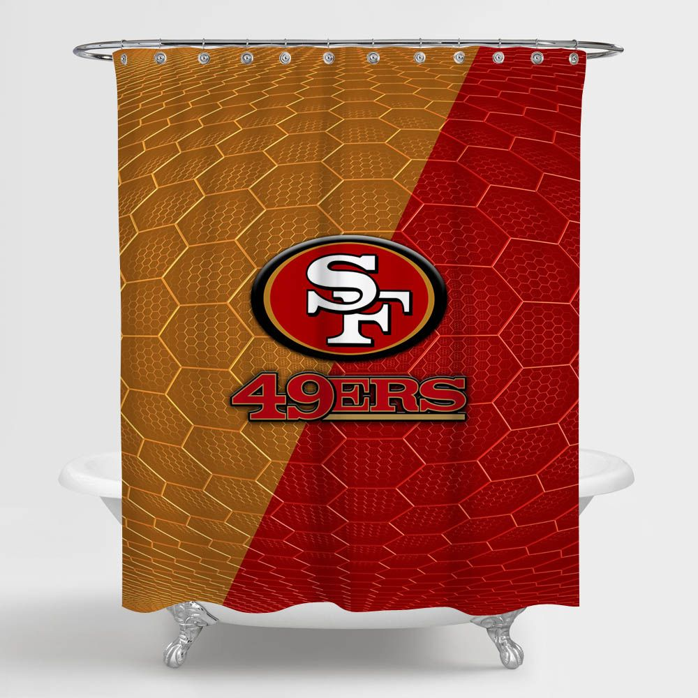 San Francisco 49ers Nfl Honeycomb Shower Curtain 100 Polyester