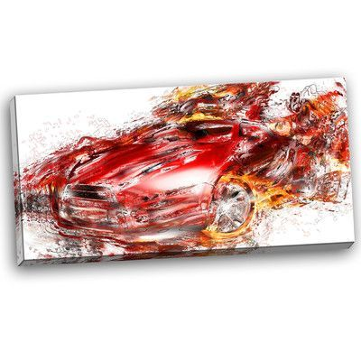 DesignArt Flaming  Red Sports Car Painting Print on Wrapped Canvas | Wayfair
