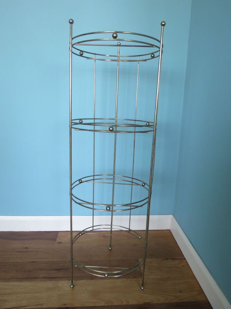 Vtg ATOMIC MCM Brass Wire 4 Tier Shelves Plant Display Stand Mid ...