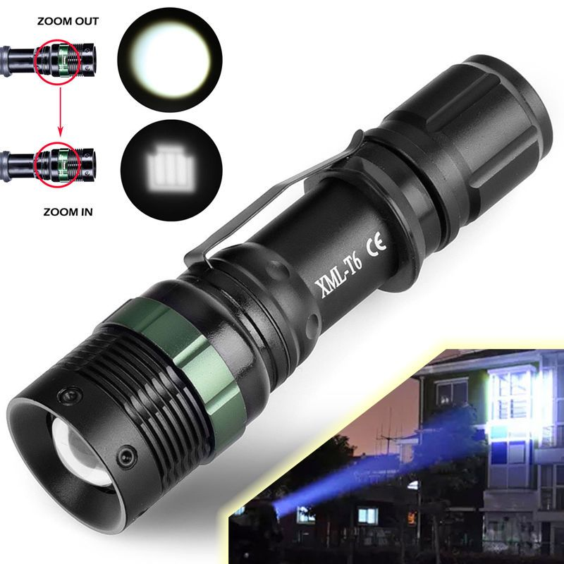Military 10000LM XM-L T6 Zoomable 18650 Flashlight Zoom SOS Torch Bicycle Lamp