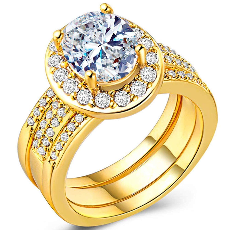 Tivani Women S 3pcs Pretty 18k White Gold Plated Cz Crystal Bridal