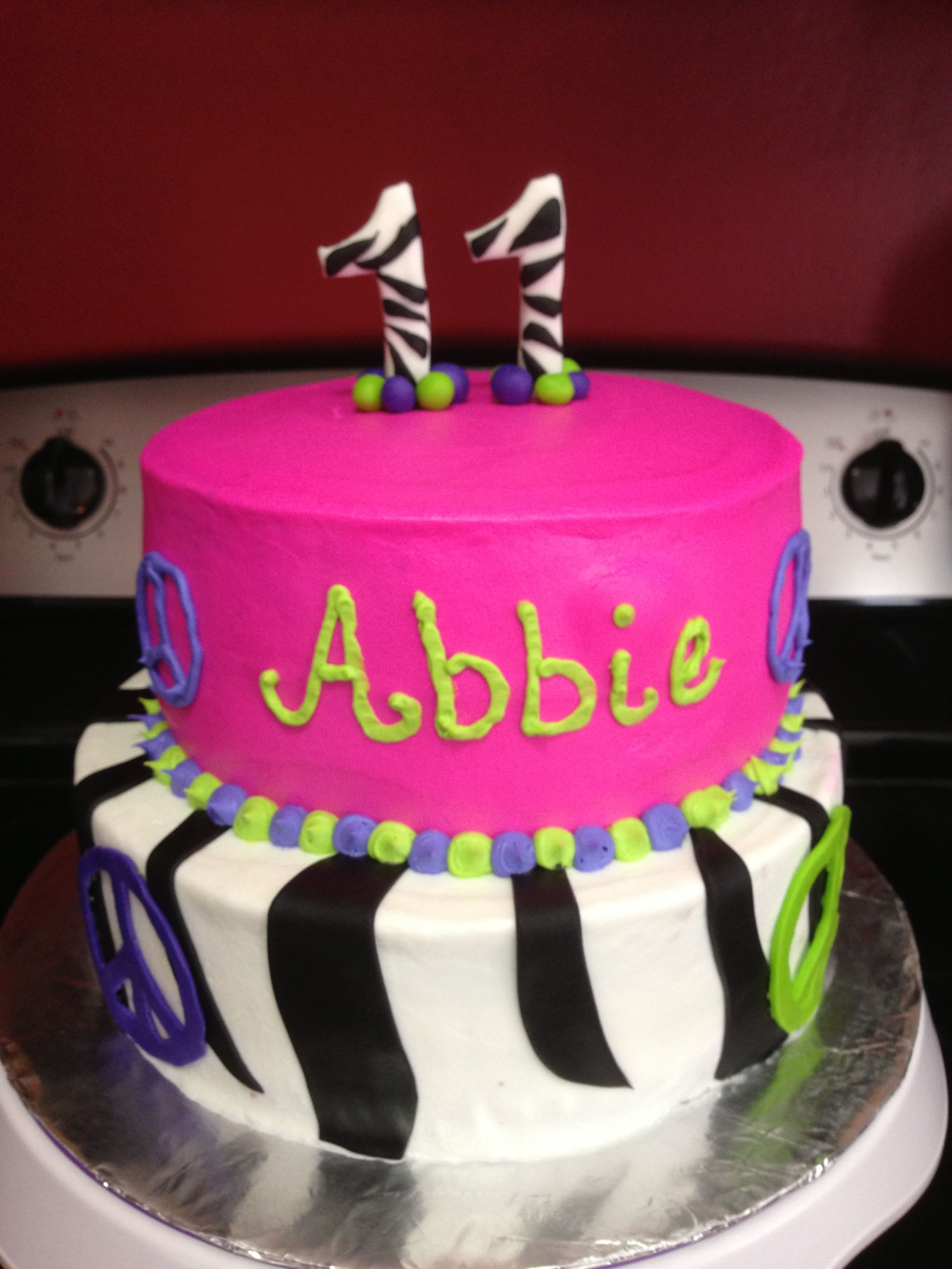 A 11 Year Old Birthday Cake Zebra And Peace Signs Birthday Cake Girl Cakes Cake