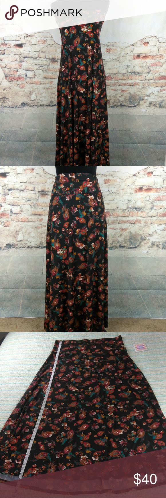d399dd4527 LuLaRoe 2XL Black Red Teal Floral Paisley Maxi NWT LuLaRoe Sz 2XL Black Red  Teal Floral Paisley Stretch Slinky Long Maxi Skirt LuLaRoe Dresses Maxi