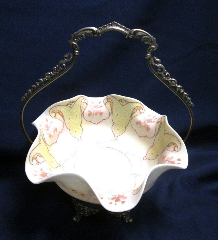 Antique Victorian Ruffled Enamel Art Glass Bowl & Silver Plate Brides Basket  #Forbes