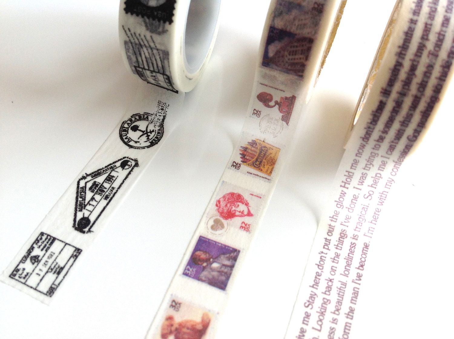 postal Washi tape set  writing japanese by MelsEclecticsupplies, $9.00