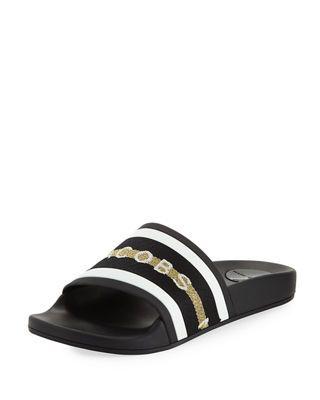 e47fb6f43ccdc8 Marc Jacobs Cooper Webbing Aqua Pool Slide Sandals