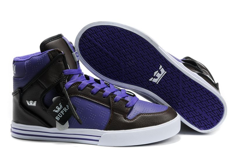 check out 85d02 19ece Supra Vaider High Top Skate Shoe Mens Purple Brown