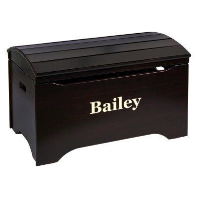 Little Colorado Solid Wood Toy Storage Chest with Personalization - Espresso Finish Black - 53 PERSONALIZED - ESP-BLACK, Durable