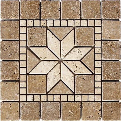 12 X 12 Flower Noche Tumbled Medallion Tile Travertine Mosaic Wall Floor Art Ancient Tiles Mosaic Tile Designs Floor Art