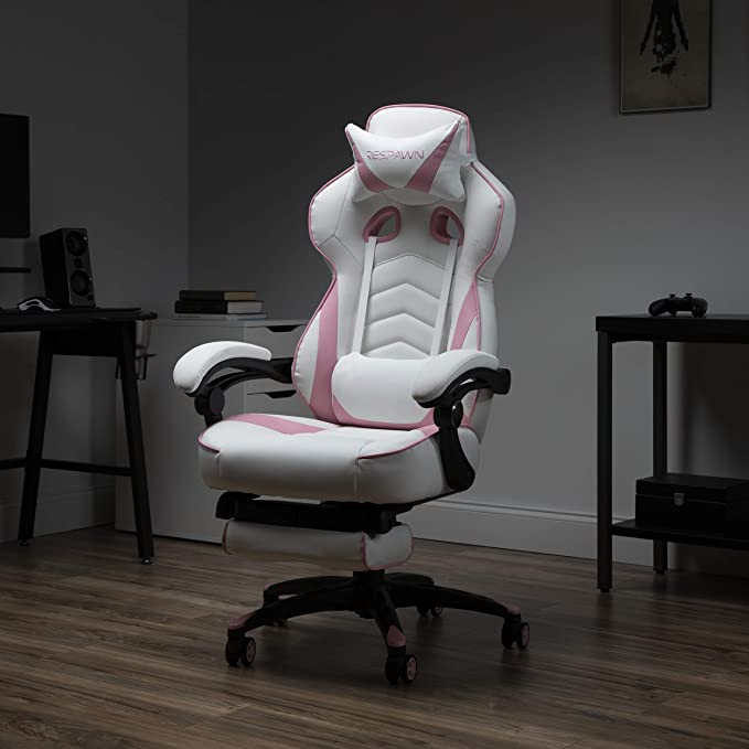 Amazon Com Respawn 110 Racing Style Gaming Chair Reclining Ergonomic Leather Chair With Footrest In Pink Kitchen Dining In 2020 Gaming Chair Leather Chair Chair