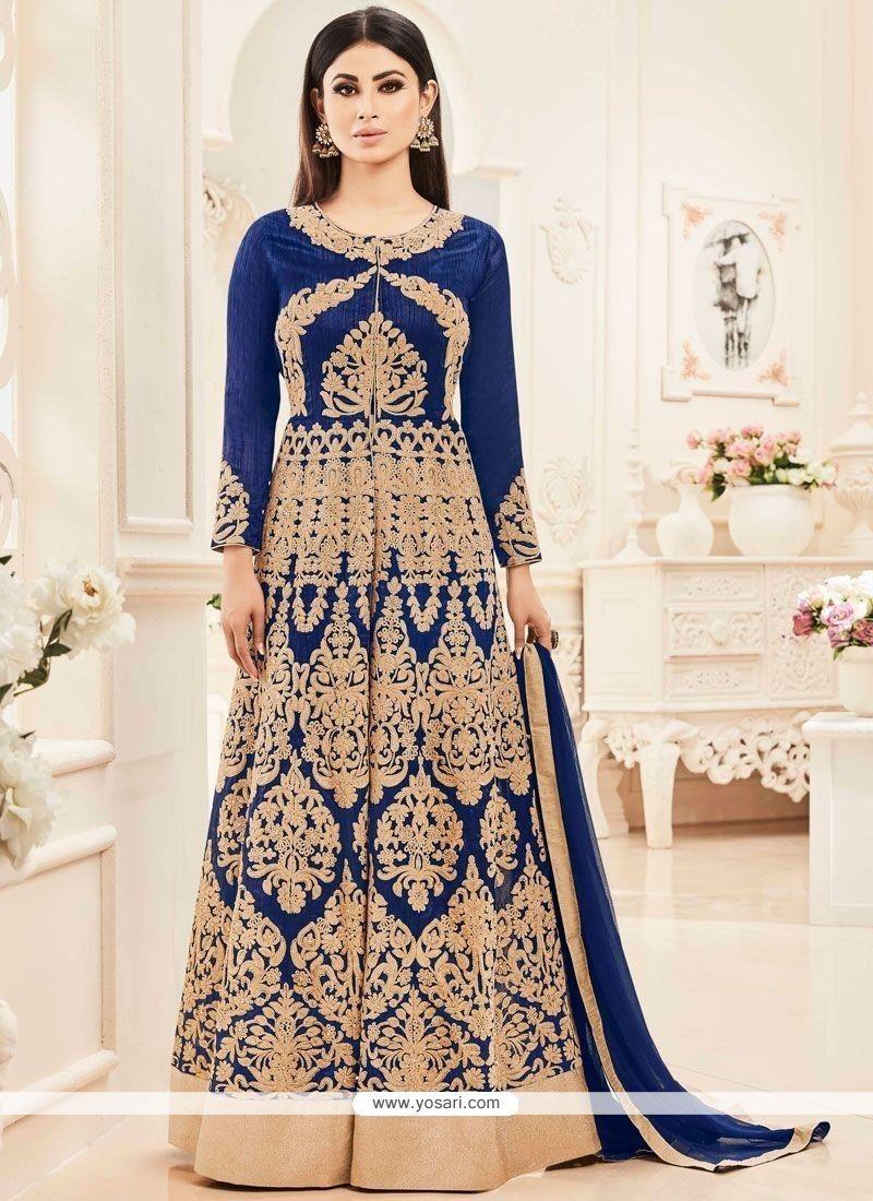 Mouni roy navy blue embroidered work floor length anarkali salwar