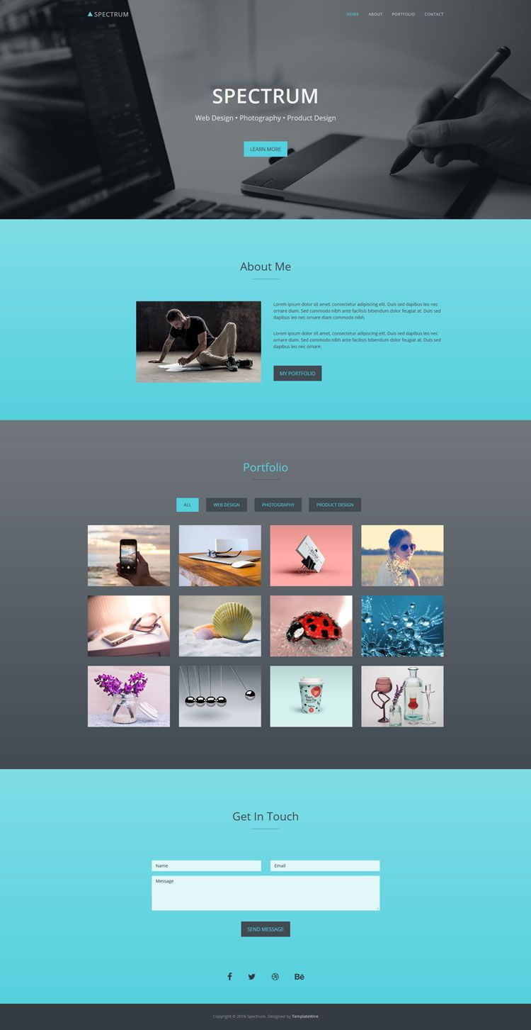 Spectrum Free One Page Portfolio Bootstrap Website Template Portfolio Templates Web Design Bootstrap Template
