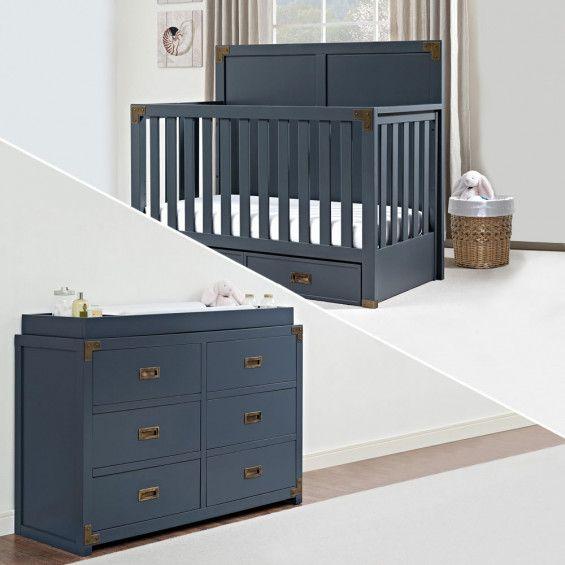 Monbebe Wyatt 2 Piece Nursery Set Crib and 6 Drawer ...